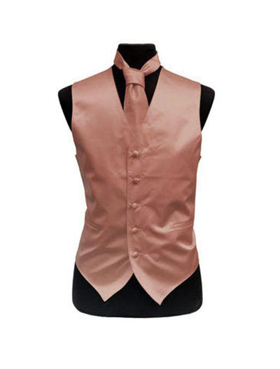 Men's Solid Satin Dusty Pink Tuxedo Vest