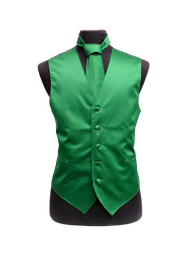 Men's Solid Satin Emerald Green Tuxedo Vest