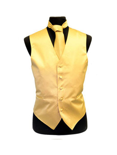 Men's Solid Satin Gold Tuxedo Vest