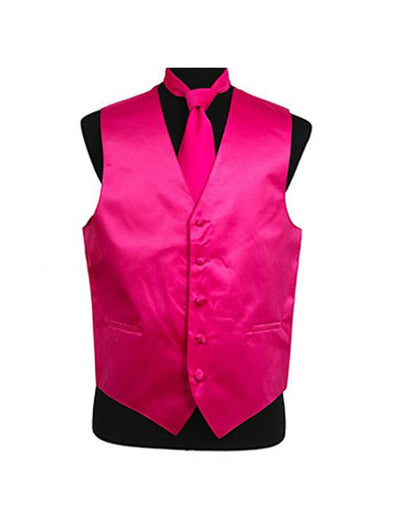 Men's Solid Satin Hot Pink Tuxedo Vest