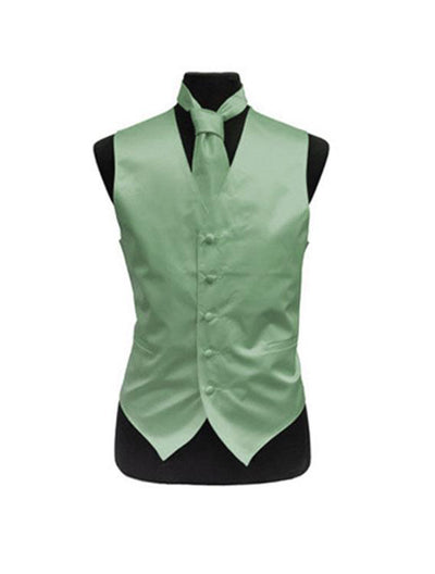 Men's Solid Satin Lime Green Tuxedo Vest