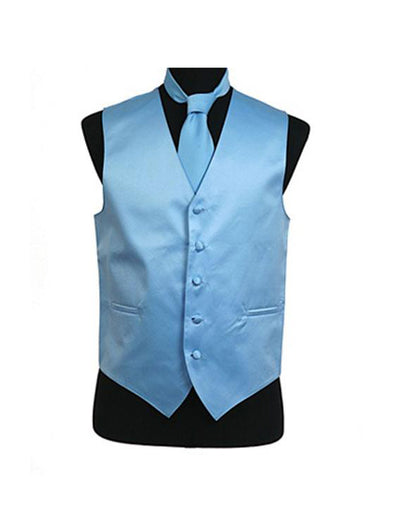 Men's Solid Satin Light Blue Tuxedo Vest