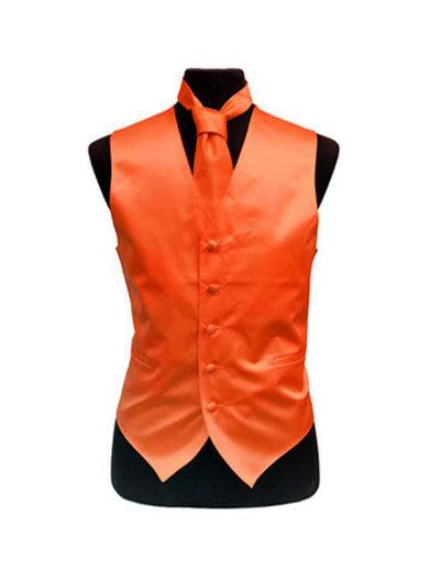 Men's Solid Satin Orange Tuxedo Vest