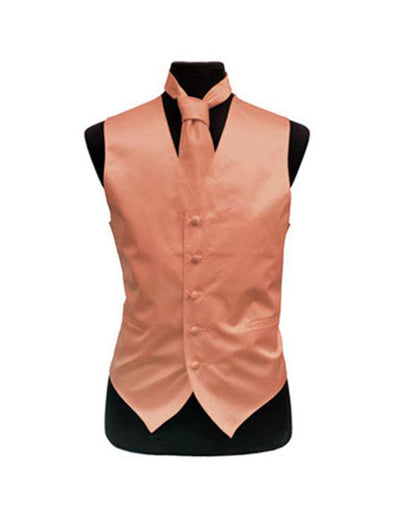 Men's Solid Satin Peach Tuxedo Vest