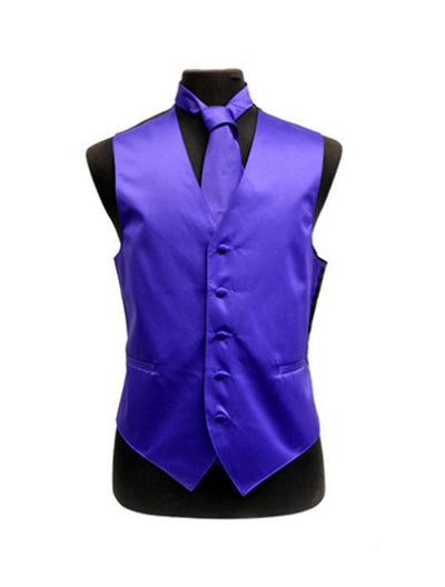 Men's Solid Satin Purple Tuxedo Vest