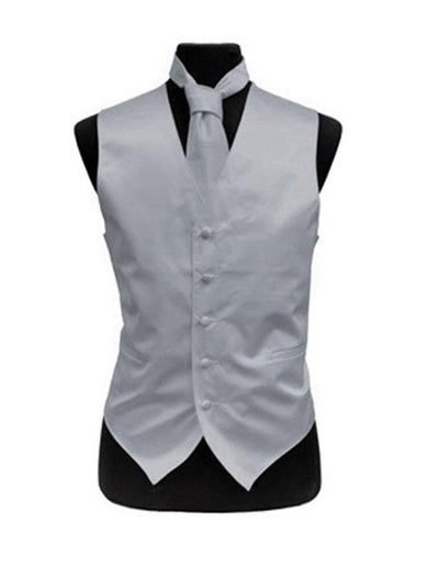 Men's Solid Satin Grey Tuxedo Vest