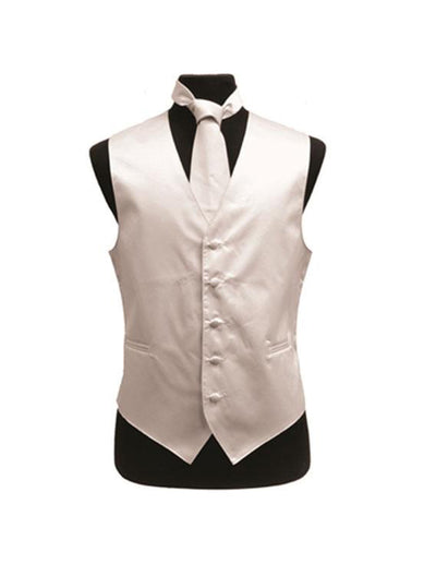 Men's Solid Satin White Tuxedo Vest