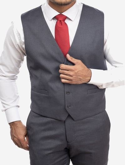 Charcoal Grey Men's Slim-Fit Suit Separates Vest by Karako's Suits