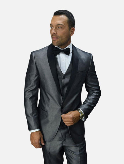 Statement Grey with Black Lapel Vested 100% Wool Tuxedo