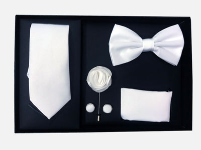 Men's Five Piece Solid White Gift Box