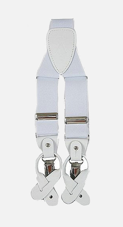 Men's White Suspenders | Elastic Button & Clip Convertible