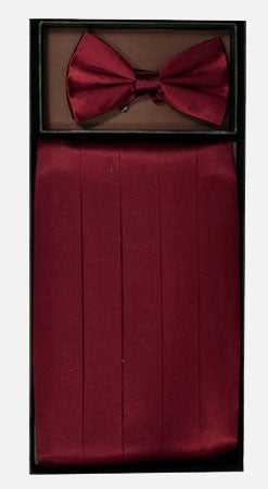 Men's Silk Wine Cummerbund with Bow Tie