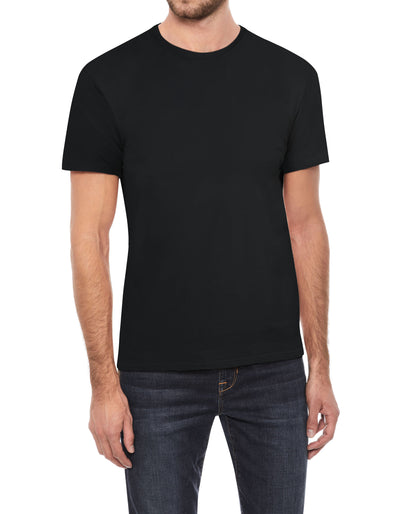 Black Soft Stretch Cotton Solid Short Sleeve Crew Neck T-Shirt