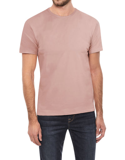 Dusty Pink Soft Stretch Cotton Solid Short Sleeve Crew Neck T-Shirt