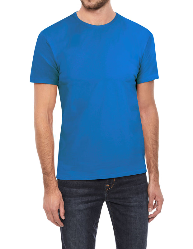 Ocean Blue Soft Stretch Cotton Solid Short Sleeve Crew Neck T-Shirt