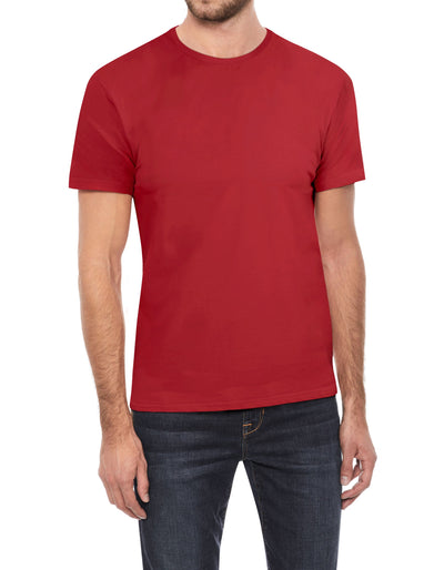 Red Soft Stretch Cotton Solid Short Sleeve Crew Neck T-Shirt