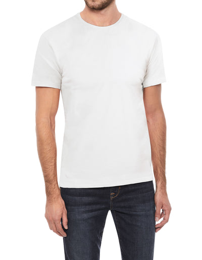 White Soft Stretch Cotton Solid Short Sleeve Crew Neck T-Shirt