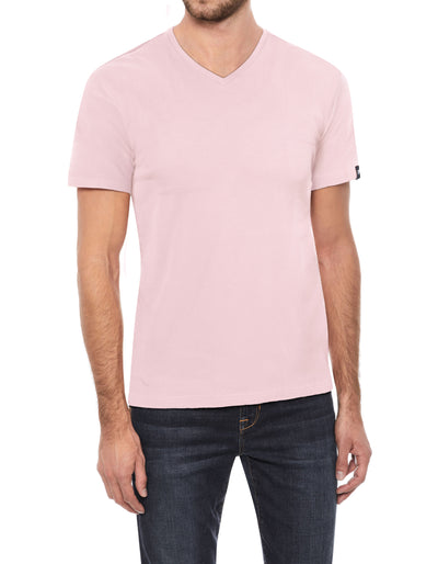 Dusty Pink Soft Stretch Cotton Solid Short Sleeve V-Neck T-Shirt