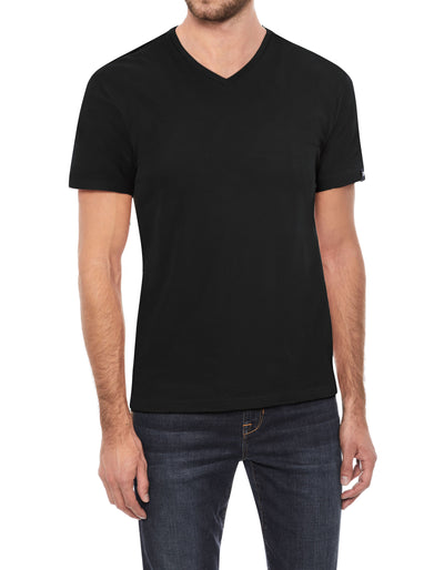 Black Soft Stretch Cotton Solid Short Sleeve V-Neck T-Shirt