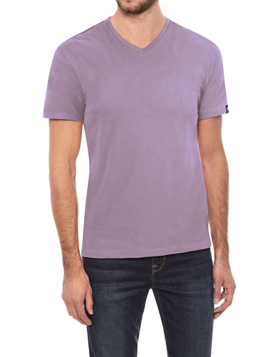 Dusty Lavender Soft Stretch Cotton Solid Short Sleeve V-Neck T-Shirt