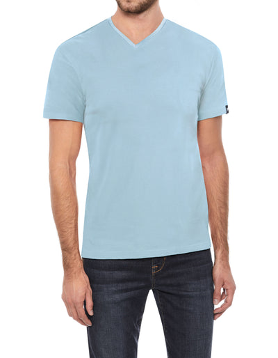 Light Blue Soft Stretch Cotton Solid Short Sleeve V-Neck T-Shirt
