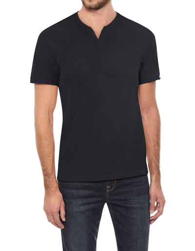 Black Stretch Cotton Solid Short Sleeve Split-Neck T-Shirt