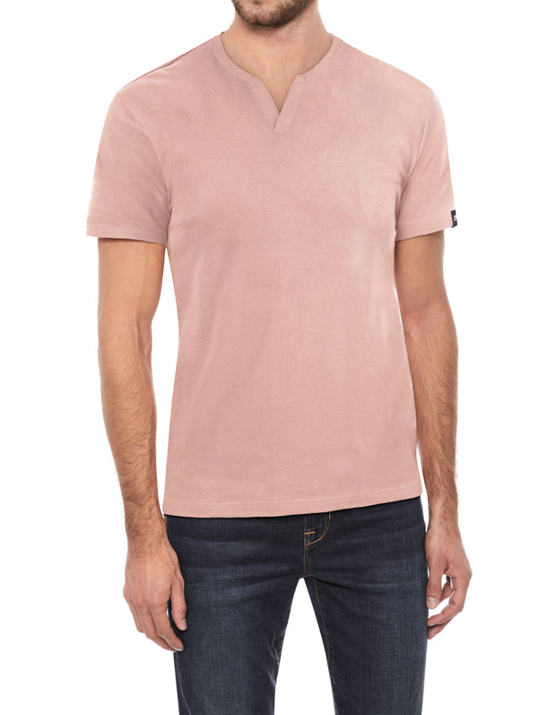 Dusty Peach Stretch Cotton Solid Short Sleeve Split-Neck T-Shirt