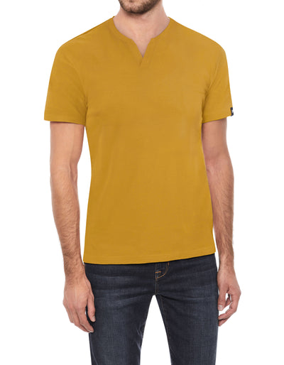 Mustard Yellow Stretch Cotton Solid Short Sleeve Split-Neck T-Shirt