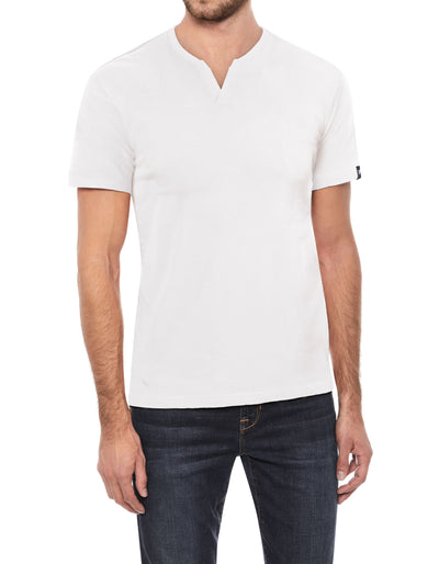 White Soft Stretch Cotton Solid Short Sleeve Split-Neck T-Shirt