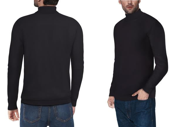 Classic Black Turtleneck Ribbed Pullover Slim Fit Sweater