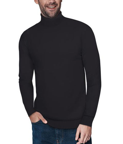 Classic Black Turtleneck Ribbed Pullover Slim Fit Sweater - Front View