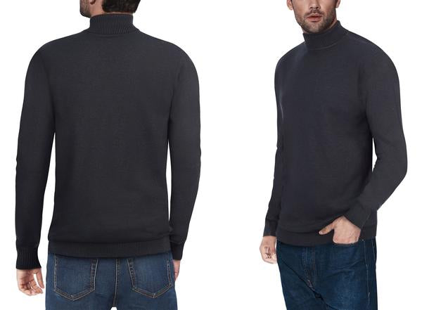 Classic Charocal Turtleneck Ribbed Pullover Slim Fit Sweater
