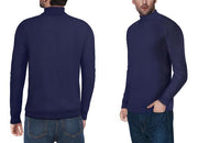 Classic Navy Turtleneck Ribbed Pullover Slim Fit Sweater
