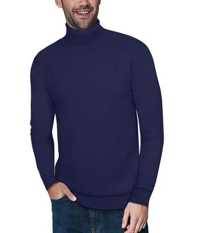 Classic Navy Turtleneck Ribbed Pullover Slim Fit Sweater - Front View