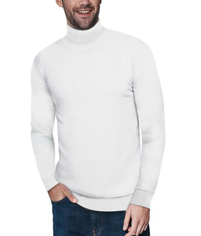 Classic Off-White Turtleneck Ribbed Pullover Slim Fit Sweater - Front View