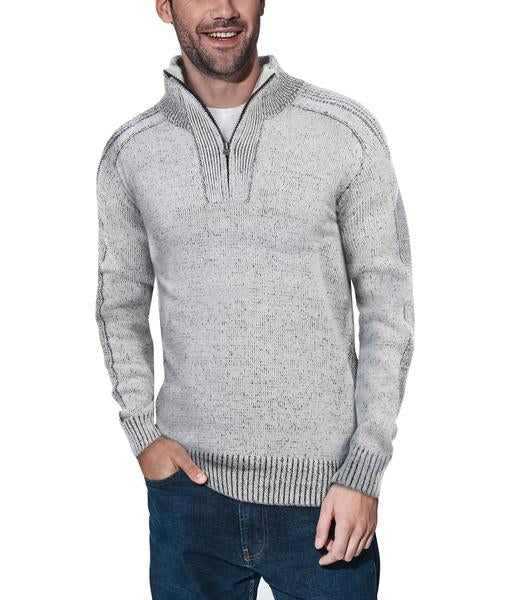 Classic Grey Quarter-Zip Mock Slim Fit Sweater