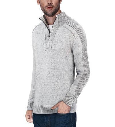 Classic Grey Quarter-Zip Mock Slim Fit Sweater - Front View