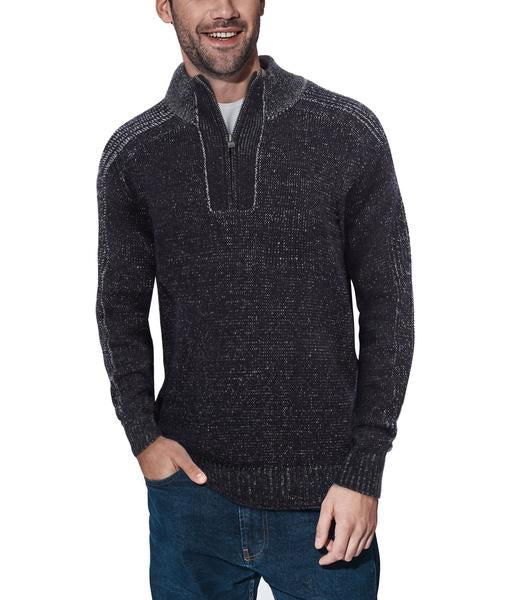 Classic Navy Quarter-Zip Mock Slim Fit Sweater