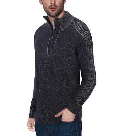 Classic Navy Quarter-Zip Mock Slim Fit Sweater - Front View