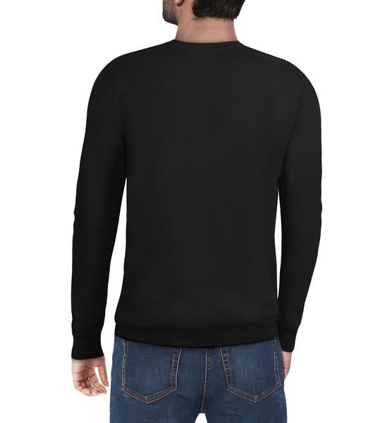 Classic Black Crew Neck Ribbed Pullover Slim Fit Sweater
