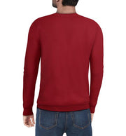 Classic Red Crew Neck Ribbed Pullover Slim Fit Sweater