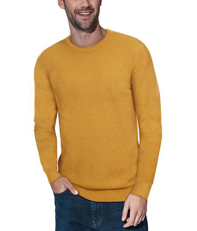 Classic Mustard Crew Neck Ribbed Pullover Slim Fit Sweater - Front View