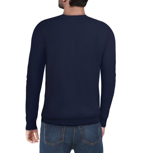 Classic Navy Crew Neck Ribbed Pullover Slim Fit Sweater