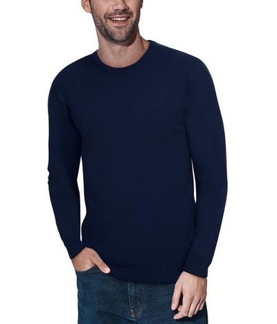 Classic Navy Crew Neck Ribbed Pullover Slim Fit Sweater - Front View