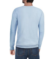 Classic Blue Crew Neck Ribbed Pullover Slim Fit Sweater