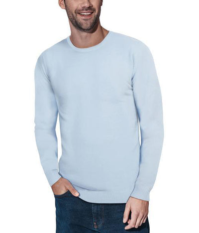 Classic Blue Crew Neck Ribbed Pullover Slim Fit Sweater - Front View