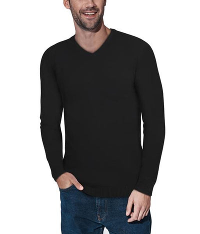 Classic Black V-Neck Ribbed Pullover Slim Fit Sweater - Front View