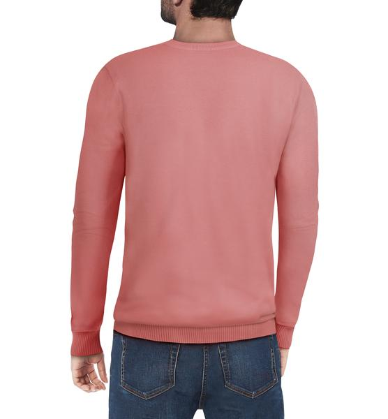 Classic Rose Pink V-Neck Ribbed Pullover Slim Fit Sweater