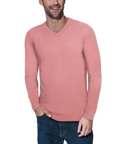 Classic Rose Pink V-Neck Ribbed Pullover Slim Fit Sweater - Front View