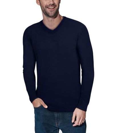 Classic Navy V-Neck Ribbed Pullover Slim Fit Sweater - Front View
